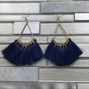 Boho Tassel Earrings Navy